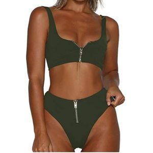 SOLD — High waisted Zip Up Bikini